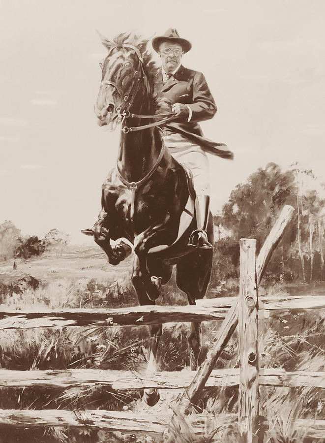 Theodore Roosevelt Painting - Teddy Roosevelt Jumping Fence On Horseback  by War Is Hell Store