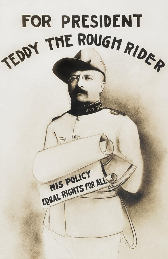 Teddy Roosevelt Painting - Teddy The Rough Rider - For President - 1904 by War Is Hell Store