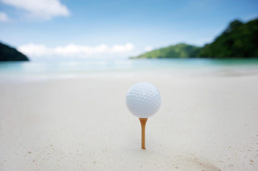 Teeing Off On The Beach Photograph by Woraput