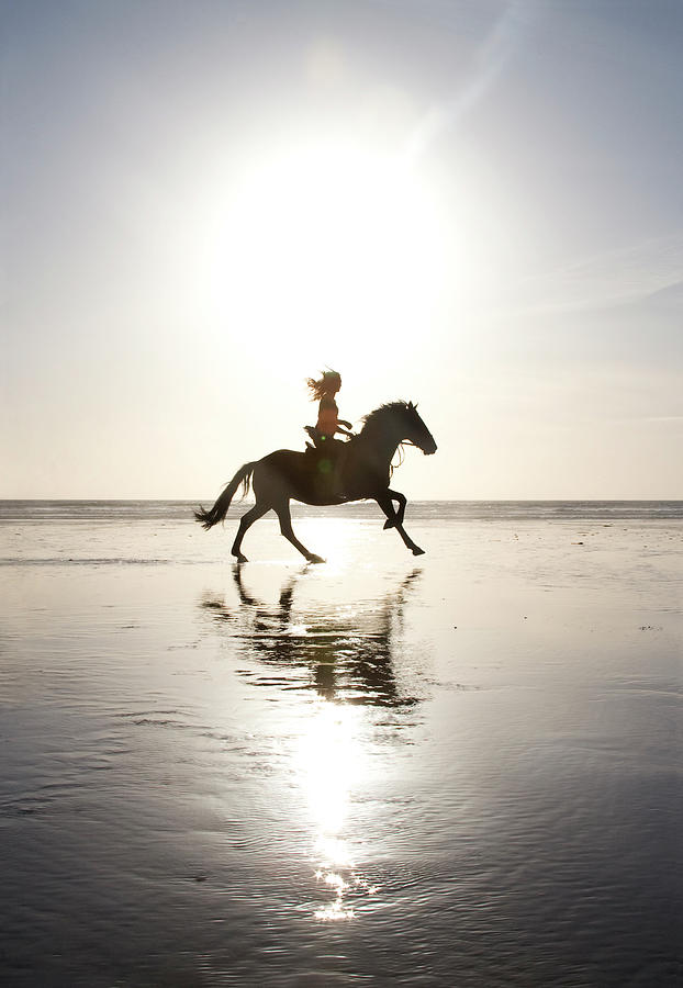 Teenage Girl Riding Horse On Beach Photograph by Jo Bradford / Green Island Art Studios