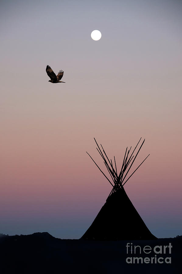 Teepee At Sunset With Full Moon Photograph by Wwing