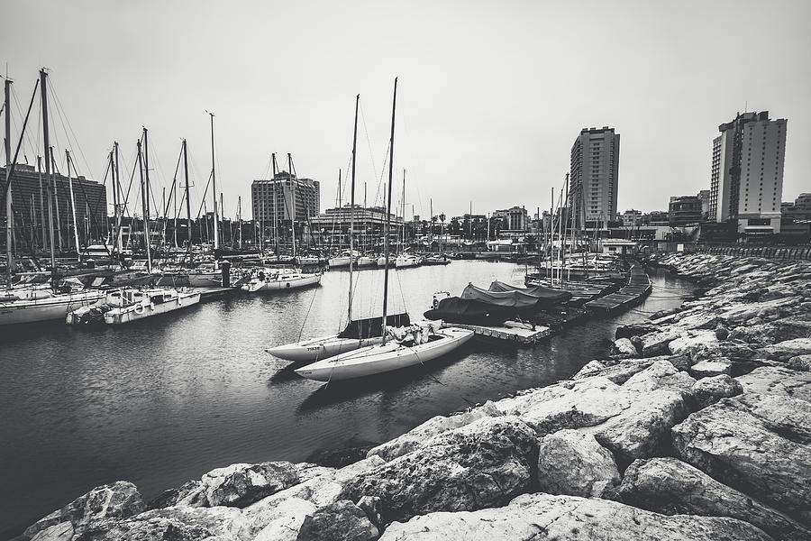 Tel Aviv Marina 1 Black and White by Mati Krimerman