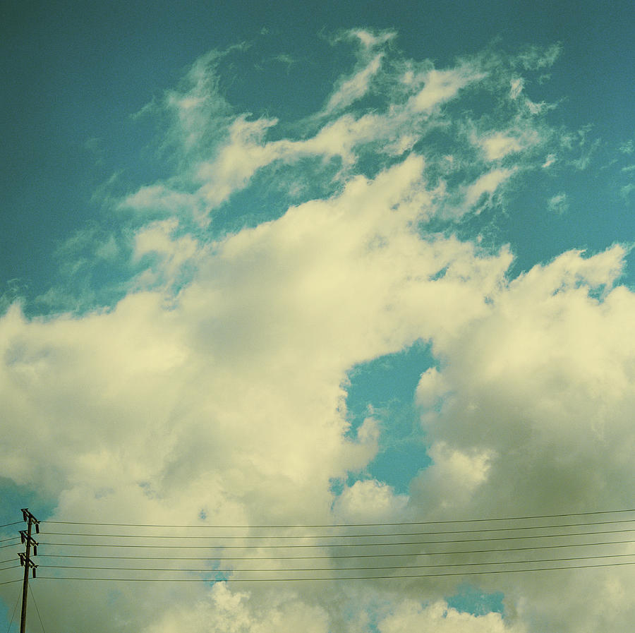 Telephone Lines Against Cloudy Blue Sky Photograph by Zen Sekizawa