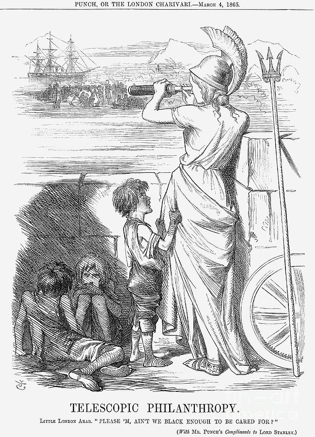 Telescopic Philanthropy, 1865. Artist Drawing by Print Collector