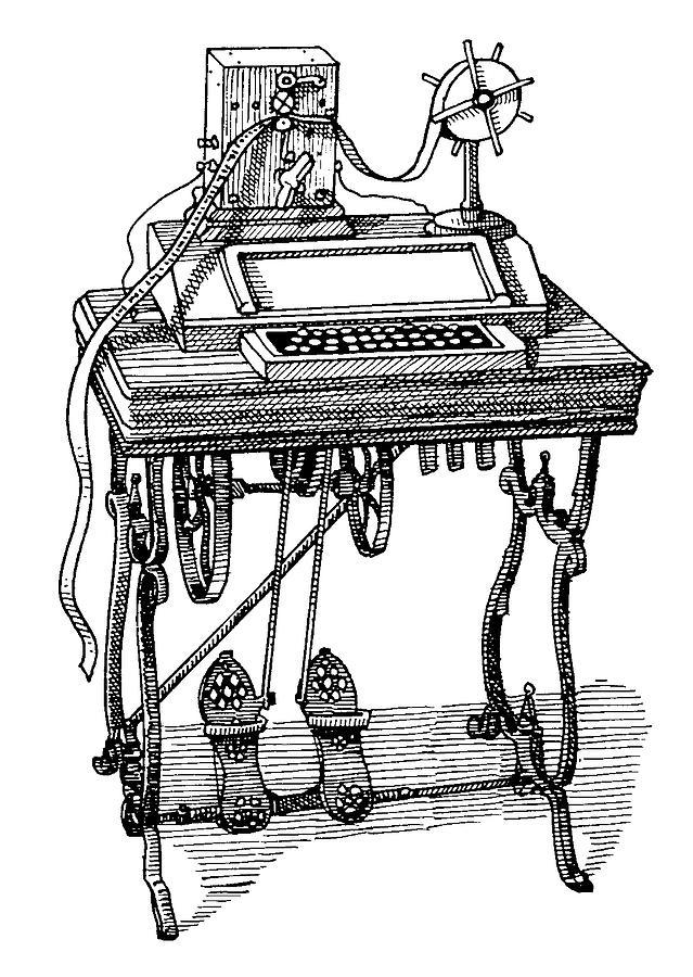 Teletype Machine Drawing