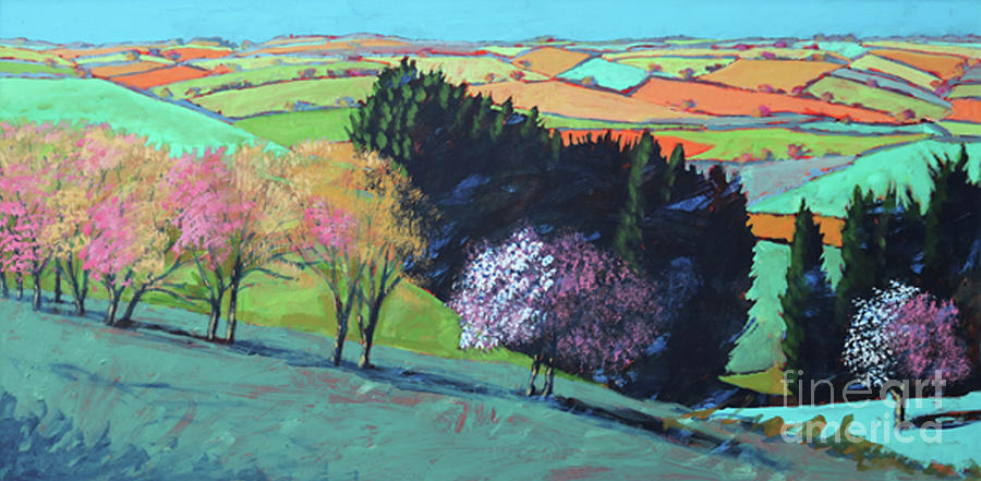 Country Painting - Teme Valley Blossom by Paul Powis