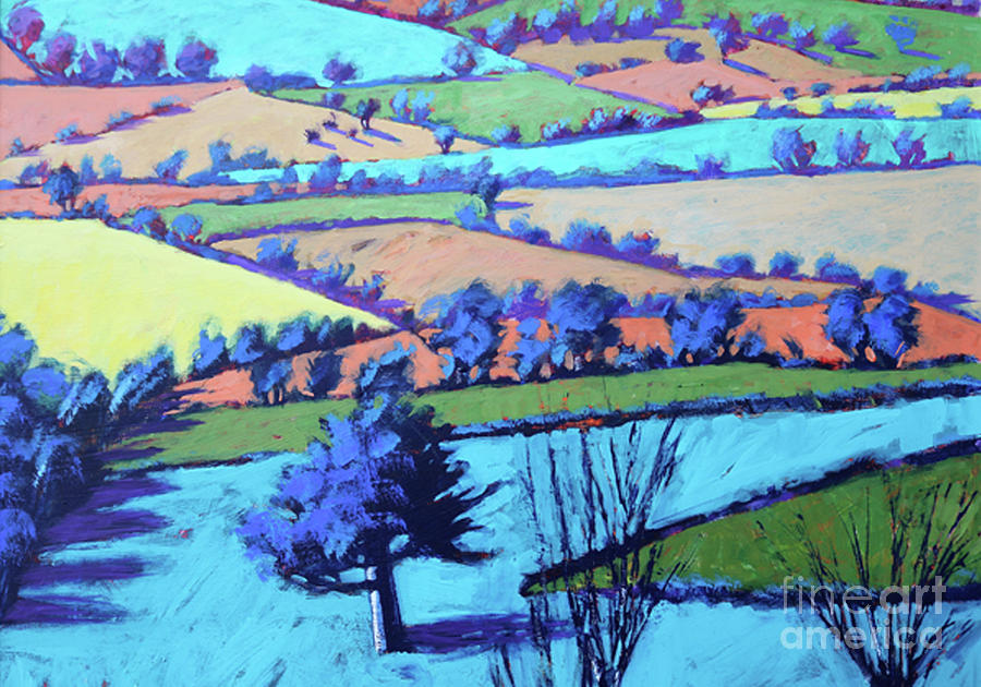 Blue Painting - Teme Valley Summer II Close Up by Paul Powis