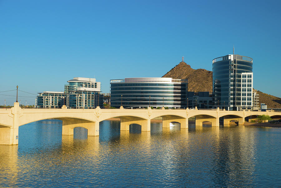 Tempe Skyline, River, And Bridge Photograph by Davel5957