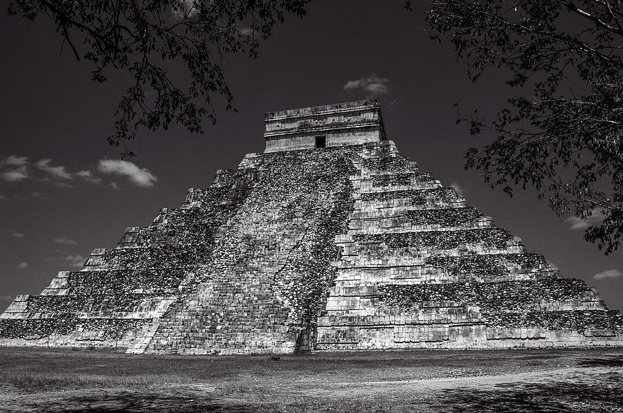 Temple of Kukulcan Black and White by Roy Pedersen