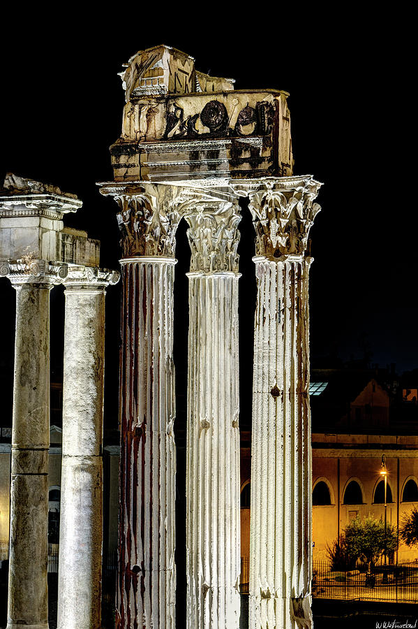 Temple of Vespasian and Titus at night by Weston Westmoreland