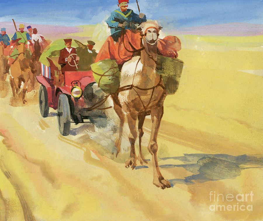 Camel Train Painting - Ten Thousand Mile Motor Race Camel Train by Ferdinando Tacconi