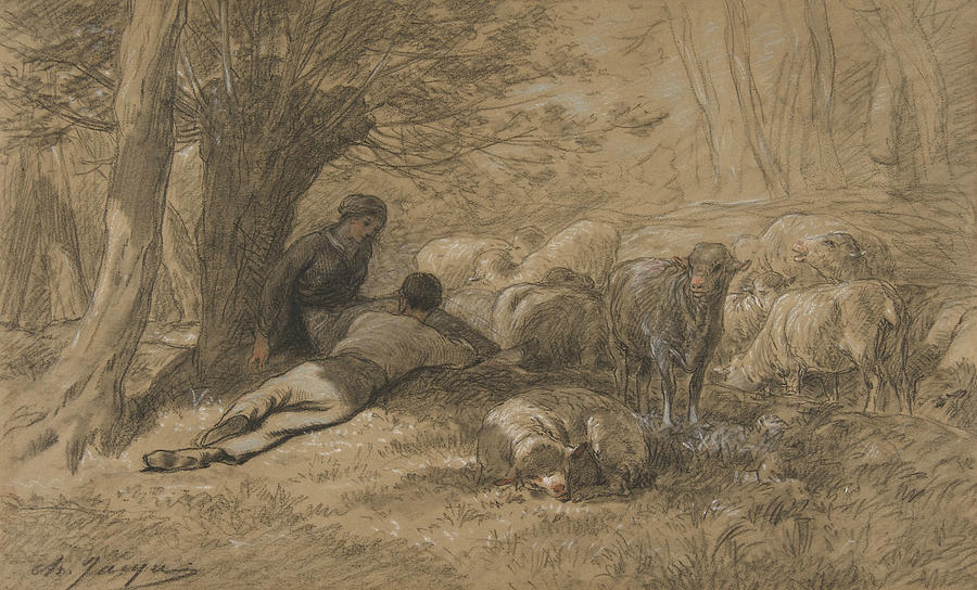 Tending the Sheep by Charles Jacque