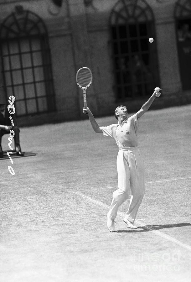 Tennis Player Don Budge Serving Tennis Photograph by Bettmann