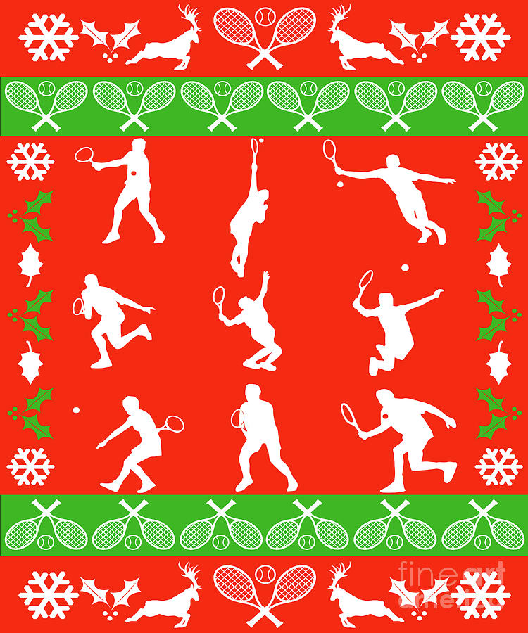 Ugly Christmas Sweater Design.Tennis Player Gift Ugly Christmas Sweater Tennis