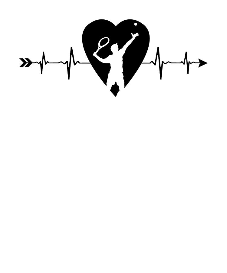 Tennis Player Tennis Heartbeat Drawing By Kanig Designs