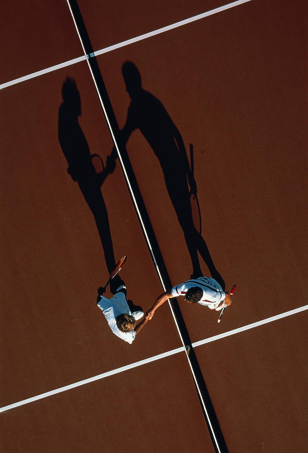 Tennis, Players Shaking Hands At Net Photograph by David Madison