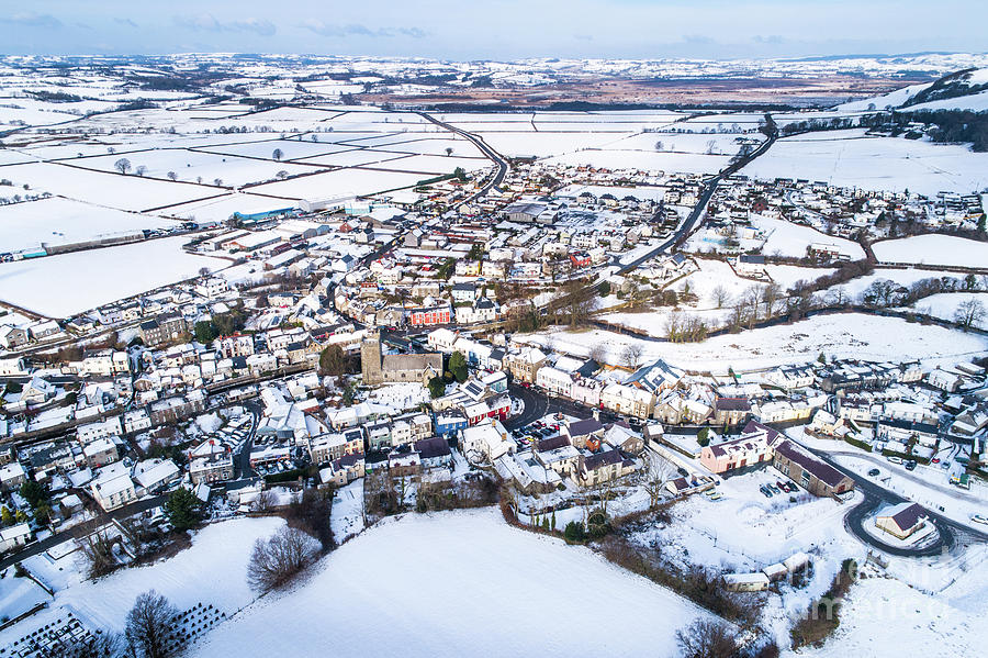 Ceredigion Photograph - Tregaron In The Snow, From The Air by Keith Morris