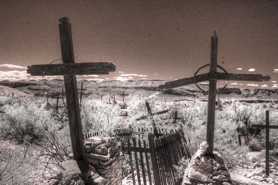 Terlingua cemetery infrared big bend west texas by Jane Linders