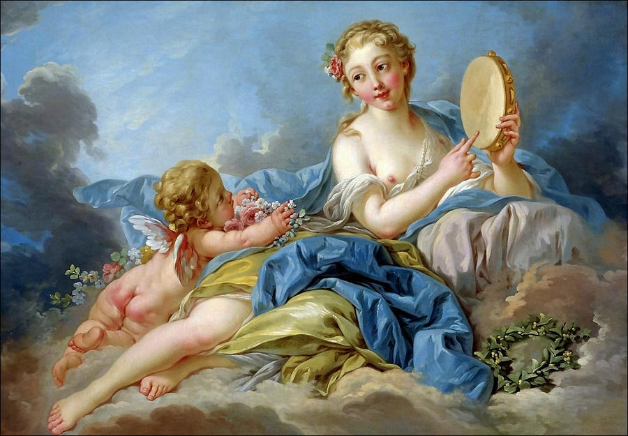 Boucher Painting - Terpischore the muse of choir and dance by Boucher Francois