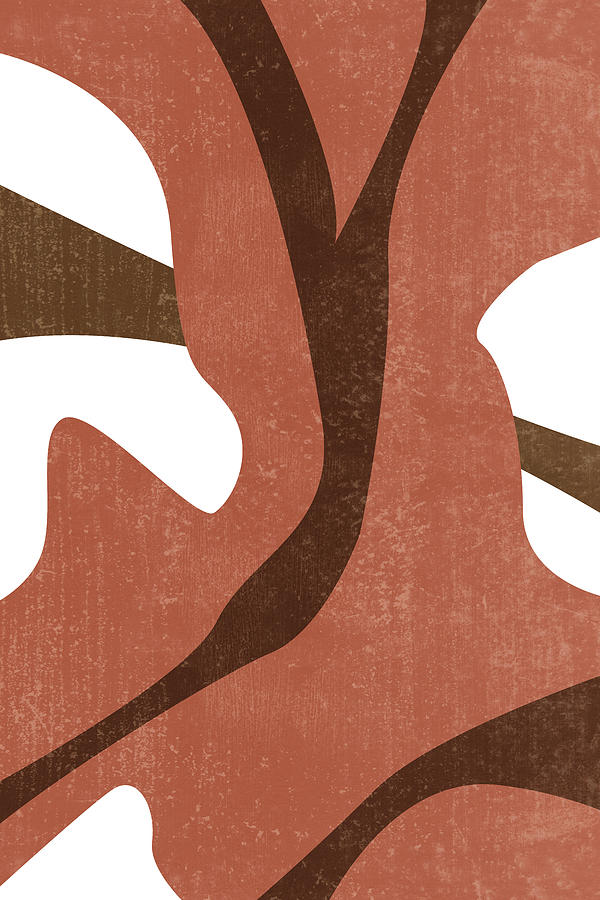 Terracotta Abstract - Modern, Minimal, Contemporary Print - Brown, Burnt Sienna - Abstract Painting Mixed Media
