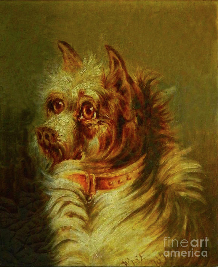 Dog Painting - Terrier 1877 by Steven Parker