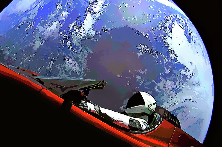 Tesla Roadster, Starman, Planet Earth Outer Space Image by Bill Swartwout Fine Art Photography