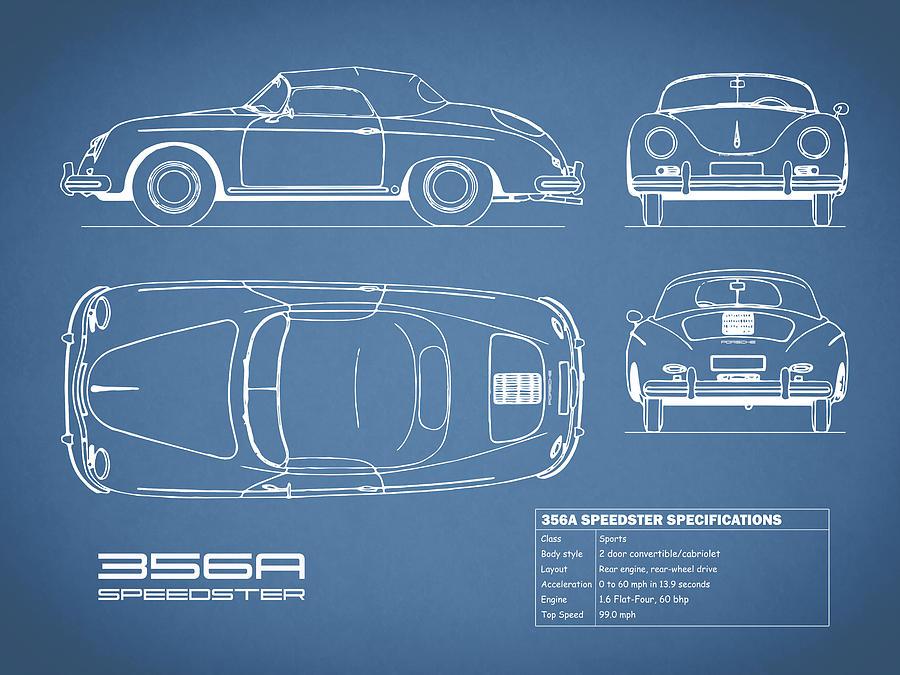 Porsche 356 Photograph - 356A Speedster Blueprint by Mark Rogan
