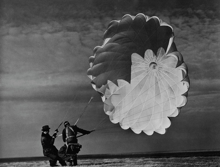Test Parachutist For Irving Air Chute Co Photograph by Margaret Bourke-white