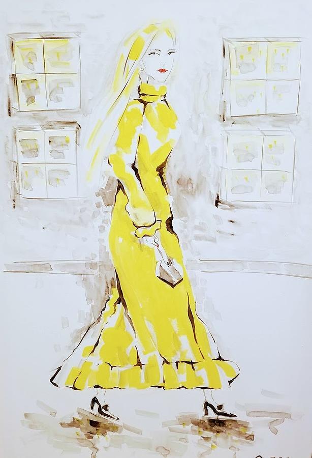 Fashion Girl Yellow 2018 Painting by AQQ Studio