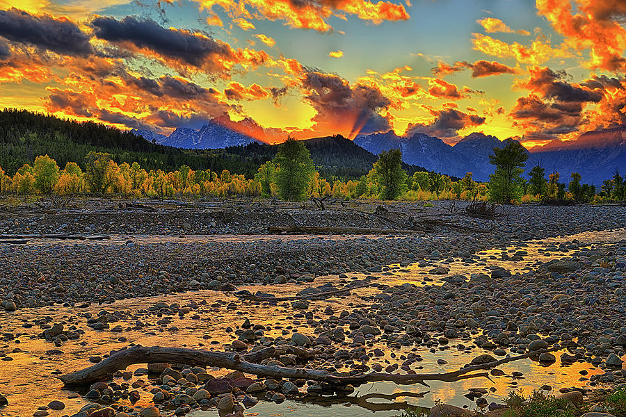 Teton Autumn Sunset Along Spread Creek by Greg Norrell