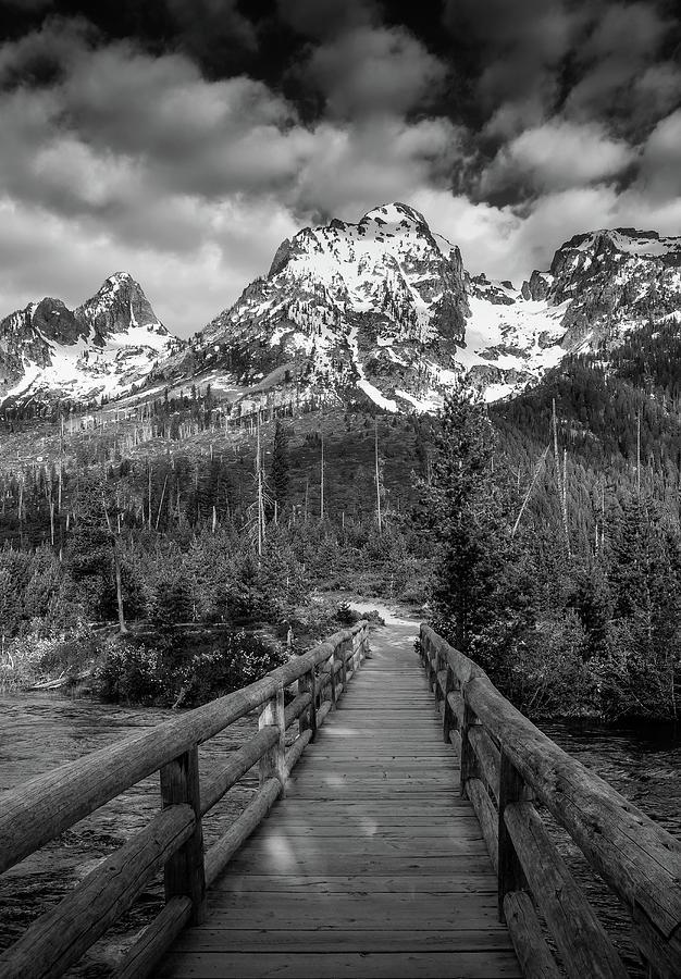 Black And White Bridge Photograph - Teton Mountain Bridge Black And White by Dan Sproul