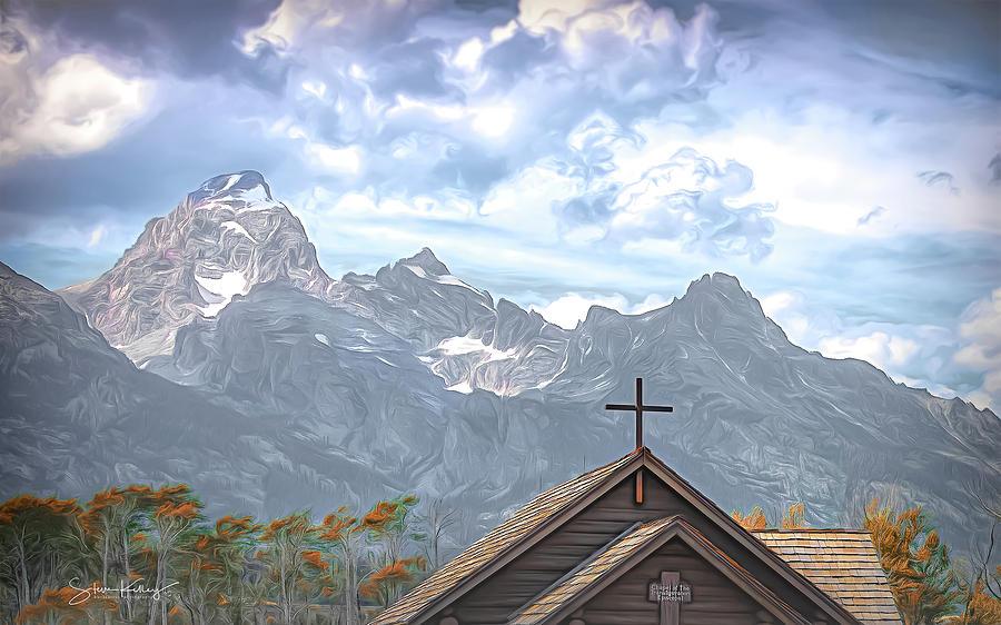 Tetons By The Cross by Steve Kelley