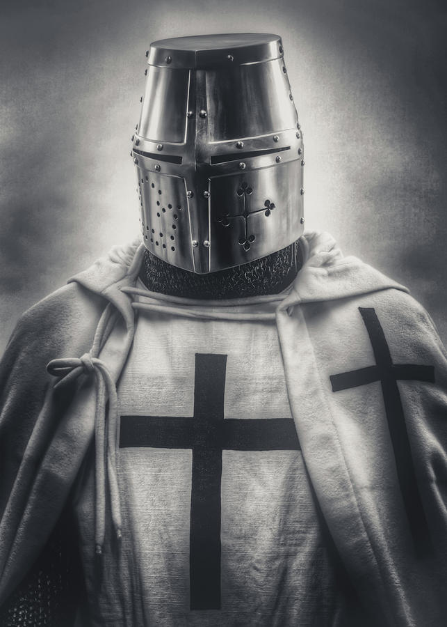 Helmet Photograph - Teutonic Knight Black And White by Hans Zimmer
