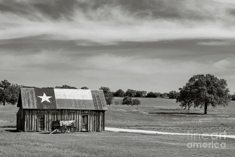 Texas Barn in Black and White by Paul Quinn
