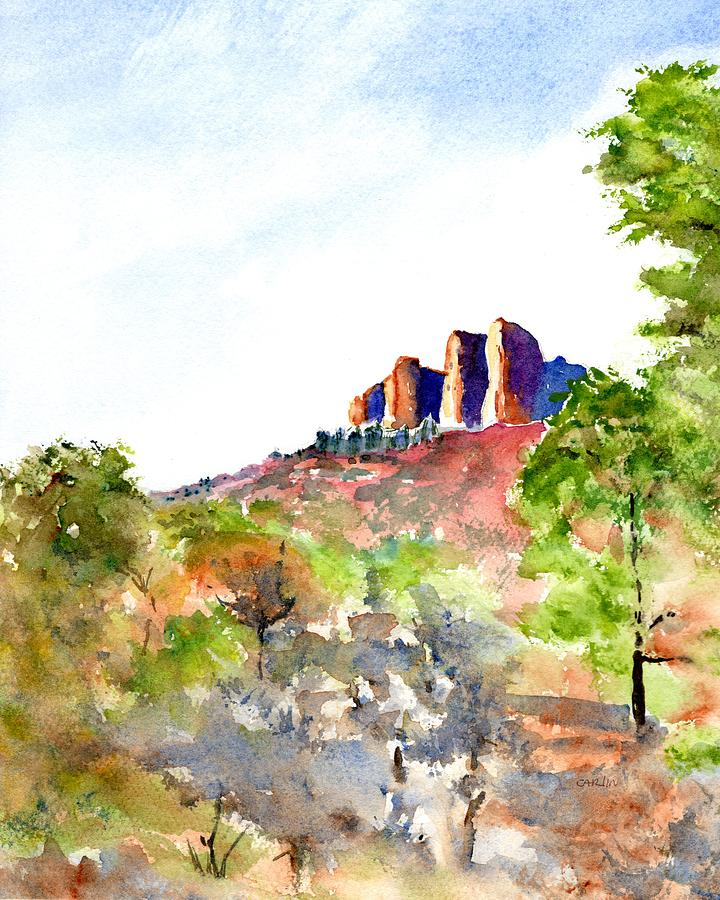 Landscape Painting - Texas Big Bend Casa Grande Peak by Carlin Blahnik CarlinArtWatercolor