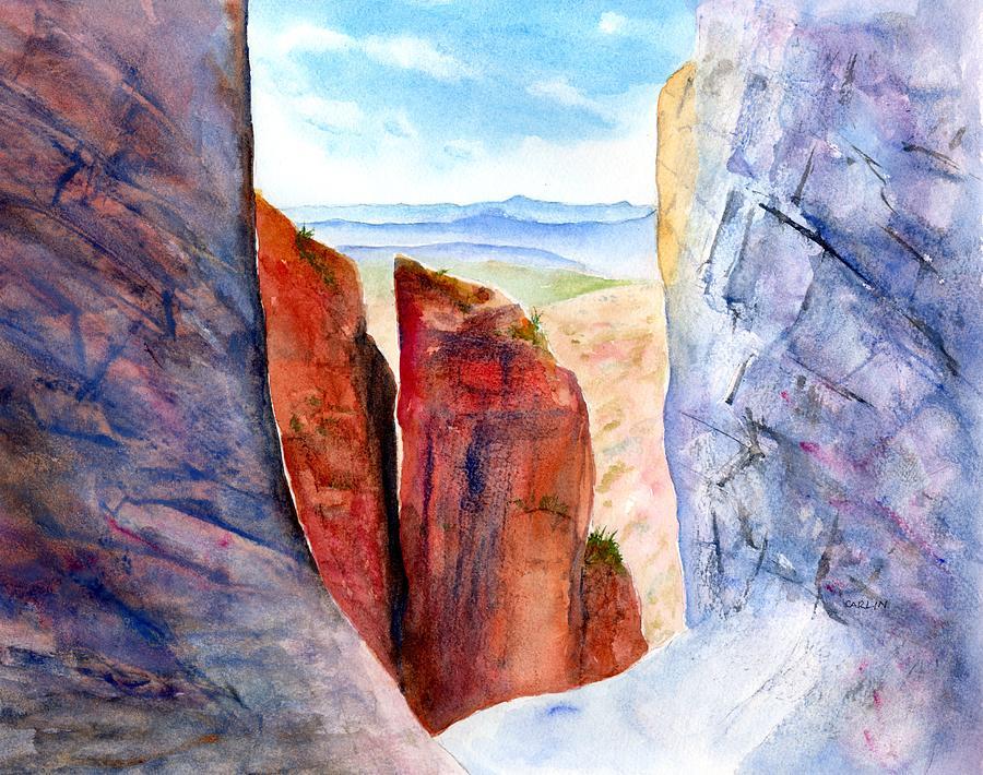 Big Bend Painting - Texas Big Bend Window Trail Pour Off by Carlin Blahnik CarlinArtWatercolor