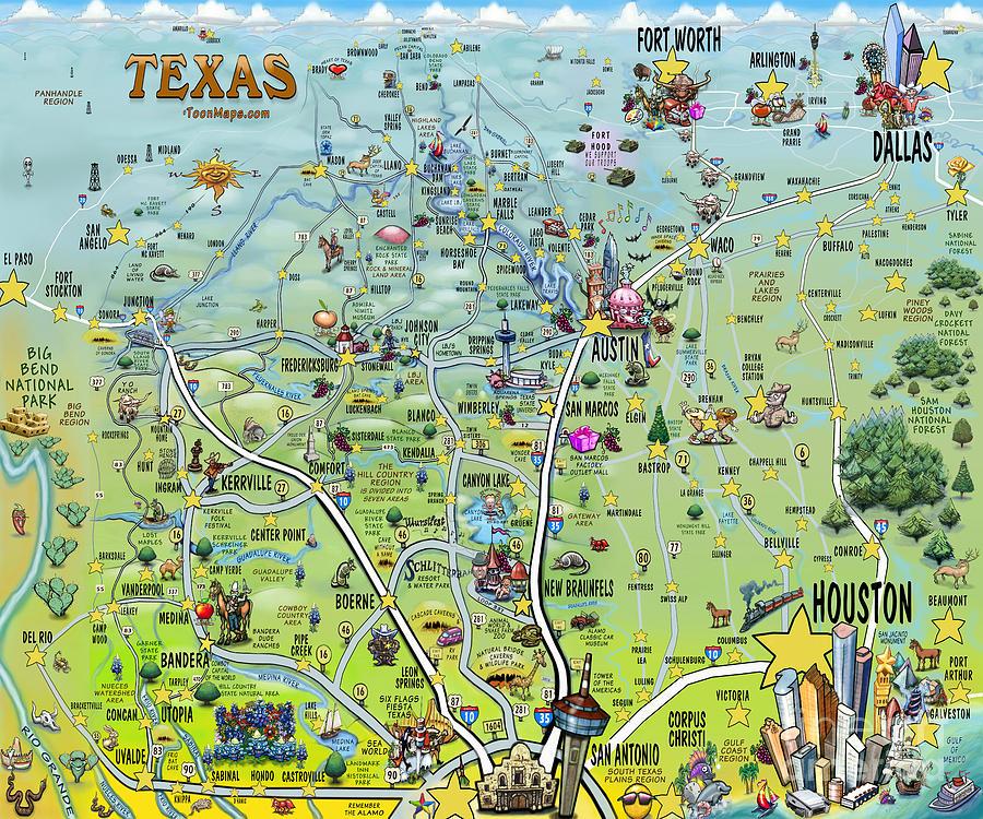 Texas Big Fun Map by Kevin Middleton