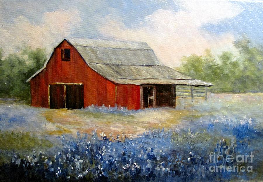 Texas Blue Bonnets and Red Barn by Barbara Haviland