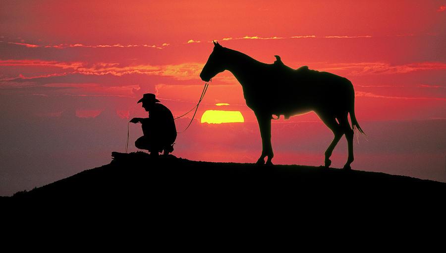 Texas Cowboy And His Horse At Sunset Photograph