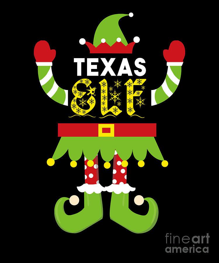 Christmas Digital Art - Texas Elf Xmas Elf Santa Helper Christmas by TeeQueen2603