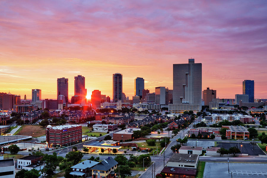 Texas, Fort Worth Skyline At Sunrise Photograph by Jeremy Woodhouse