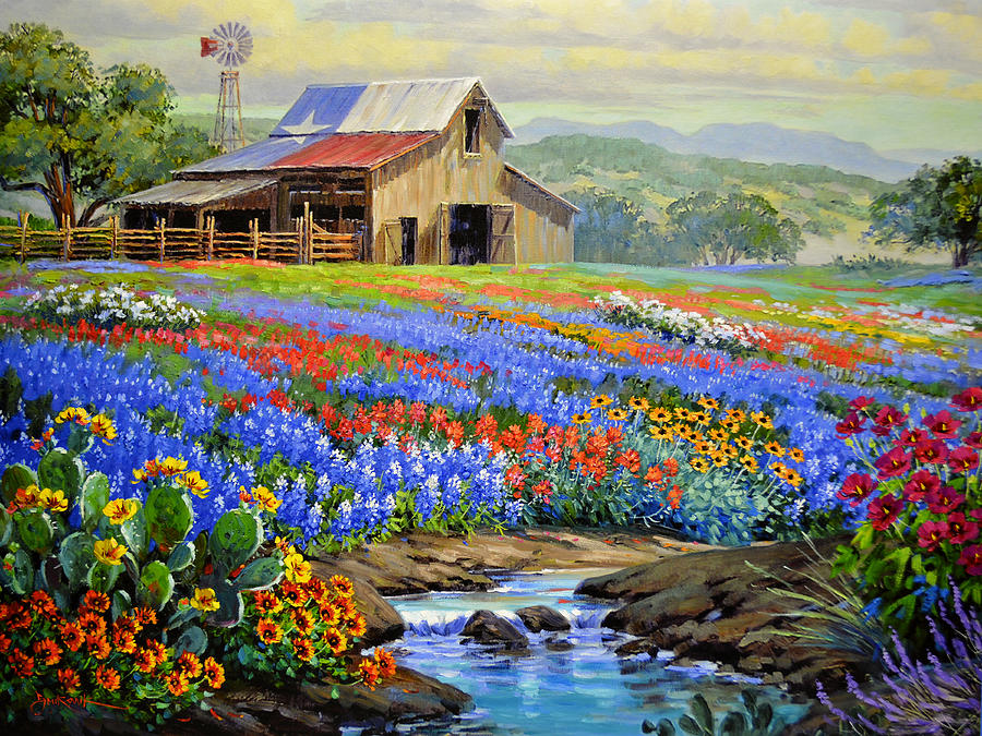 Texas Barn Painting - Texas Glory Never Fades by Mikki Senkarik