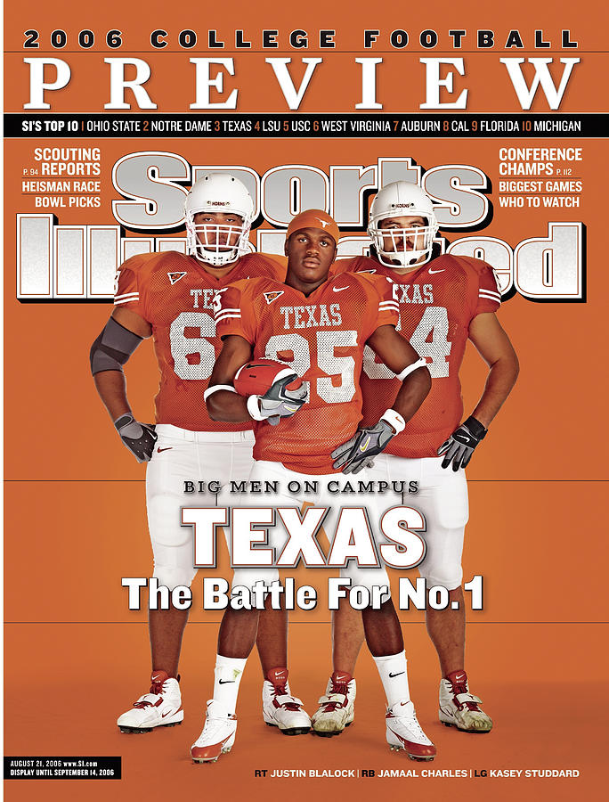 Texas Jamaal Charles, Justin Blalock, And Kasey Studdard Sports Illustrated Cover Photograph by Sports Illustrated