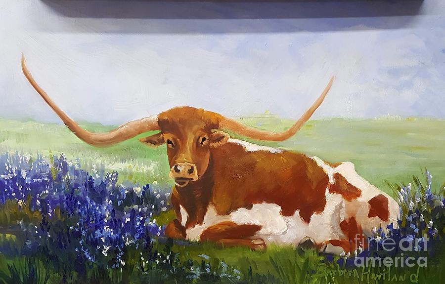 Blue Bonnets Painting - Texas Longhorn by Barbara Haviland
