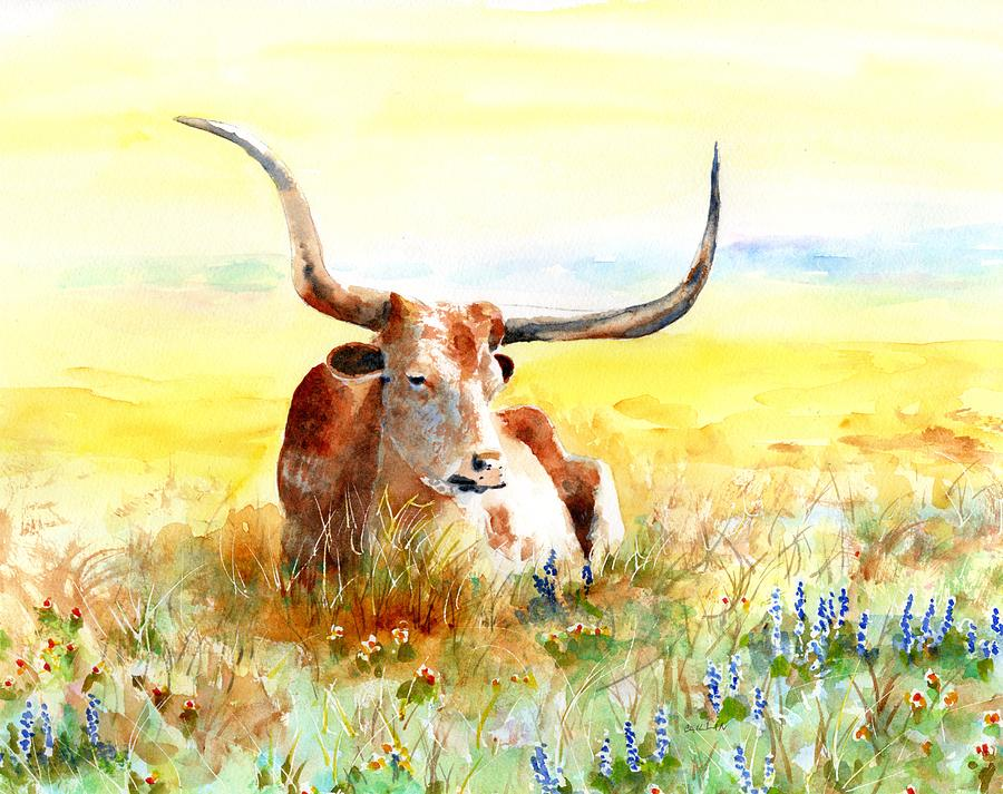 Texas Longhorn, Bluebonnets and Sunshine by Carlin Blahnik CarlinArtWatercolor