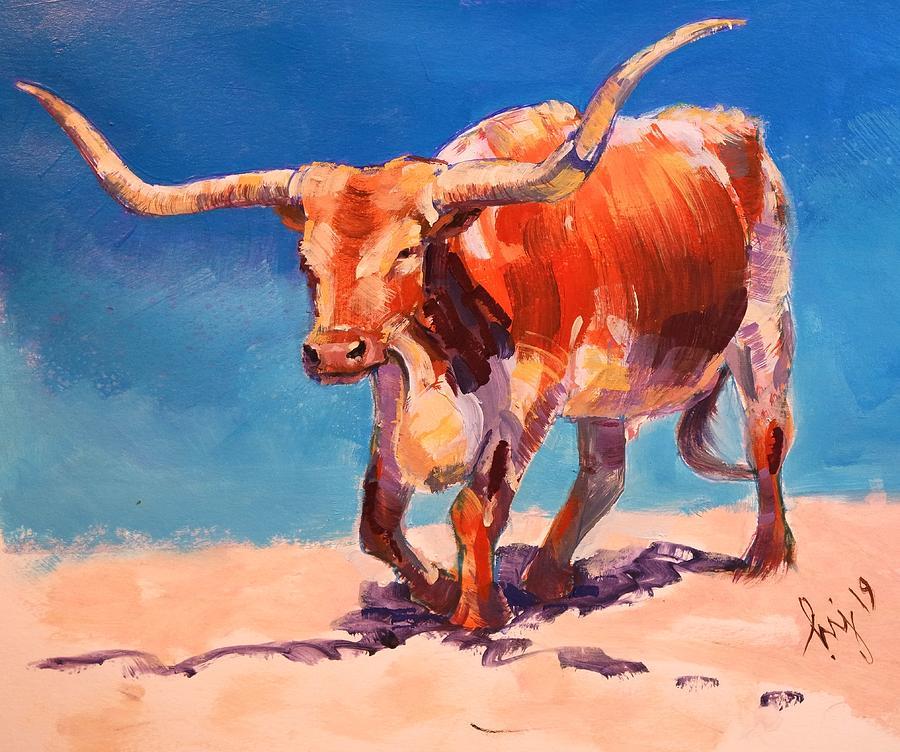 Texas Longhorn Steer Painting by Mike Jory
