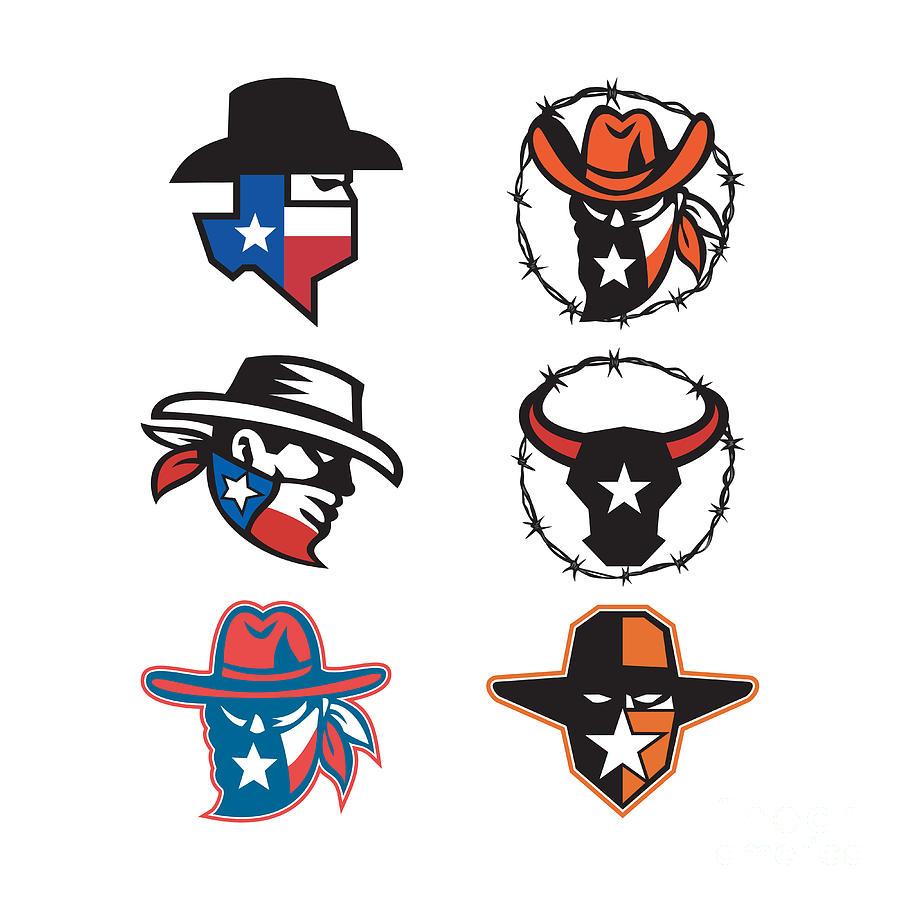 Mascot Digital Art - Texas Outlaw Mascot Collection by Aloysius Patrimonio