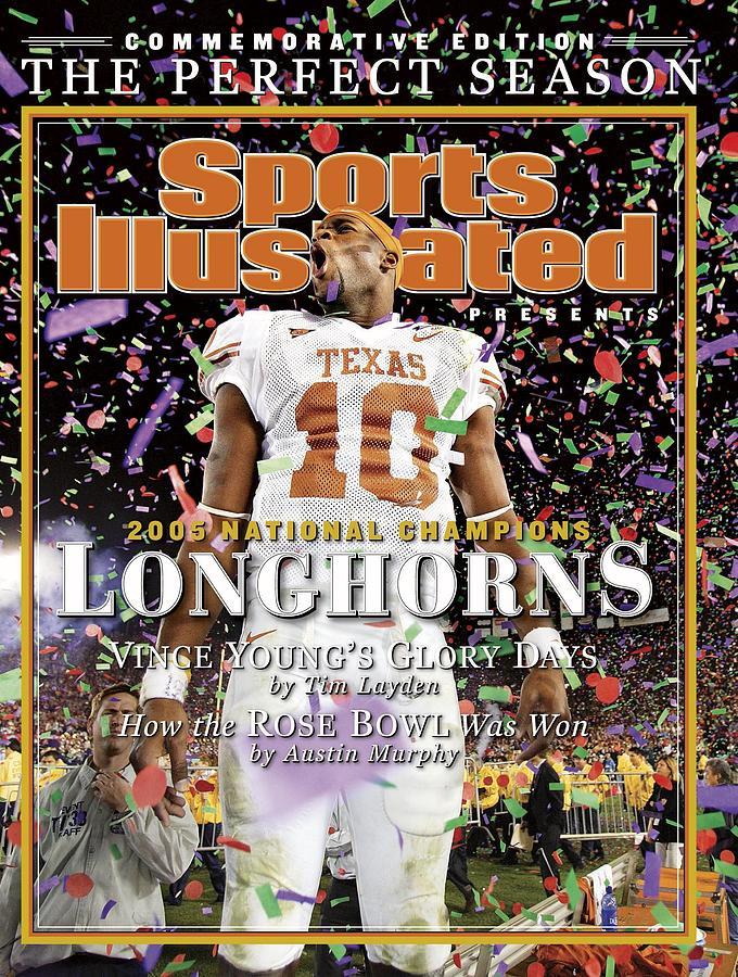 Magazine Cover Photograph - Texas Qb Vince Young, 2006 Rose Bowl Sports Illustrated Cover by Sports Illustrated
