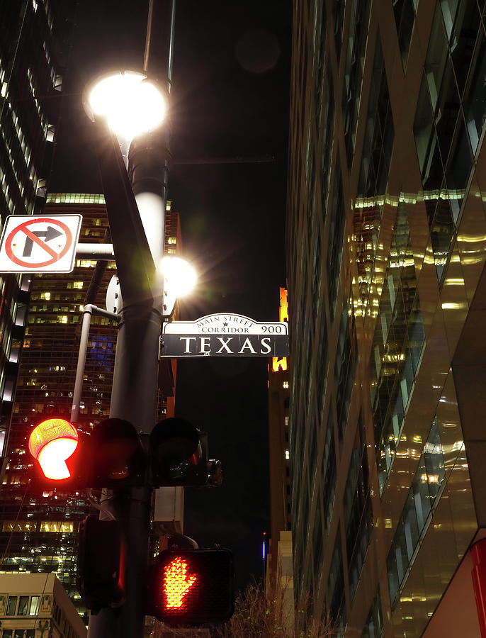 Texas Street Sign At Night by Dan Sproul