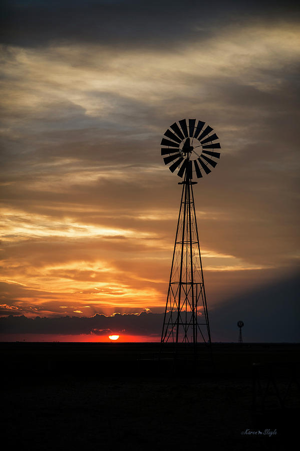 Texas Windmill at Sunset by Karen Slagle